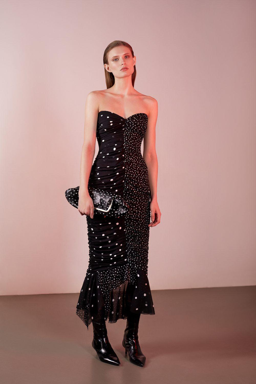 Elenareva черное платье декольте в горошек 2019