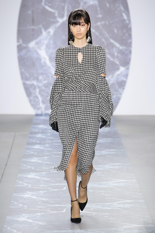 Hellessy платье в клетку 2019 с длинными рукавами