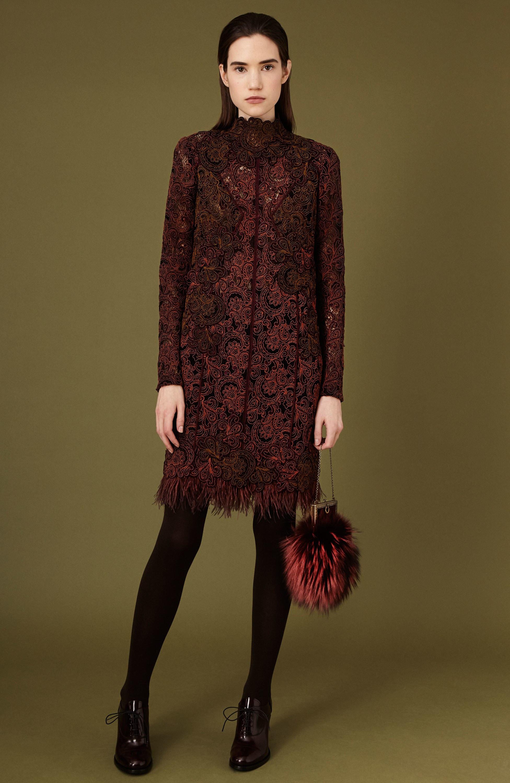 J. Mendel платье коричнего цвета с круженым принтом 2018-2019