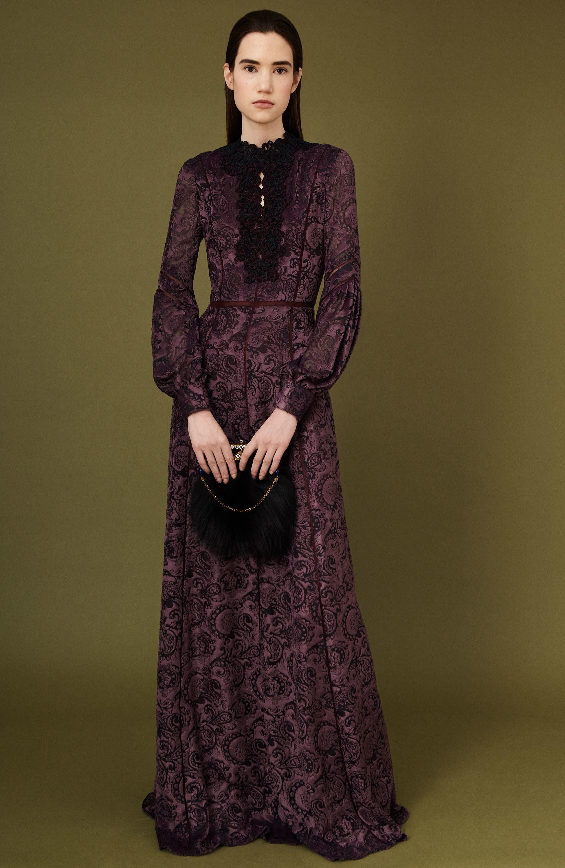 J. Mendel платье в пол фиолетового цвета с черным принтом 2018-2019