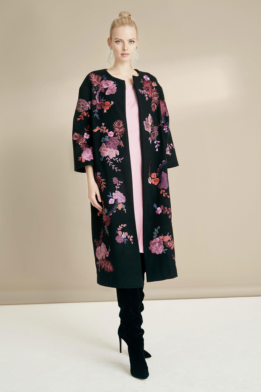Josie Natori модное женское пальто 2019 с принтом из красивых цветов розового цвета