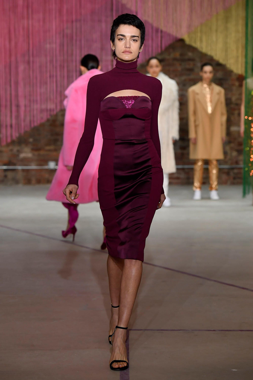 Milly элегантное платье футляр 2019 бордово-фиолеового цвета