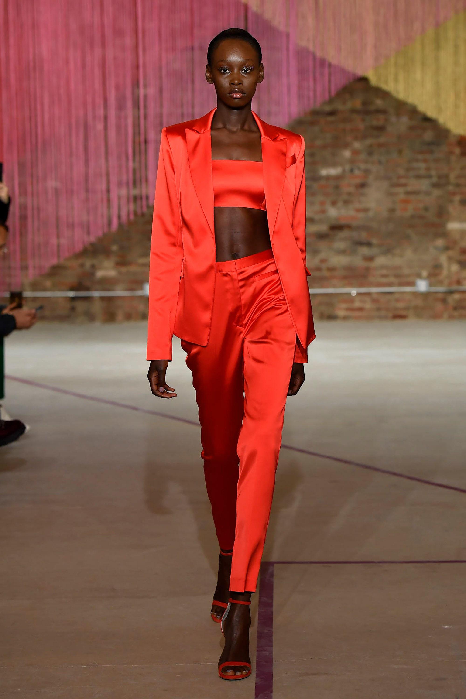 Milly брючный костюм 2019 яркого красно-оранжевого цвета