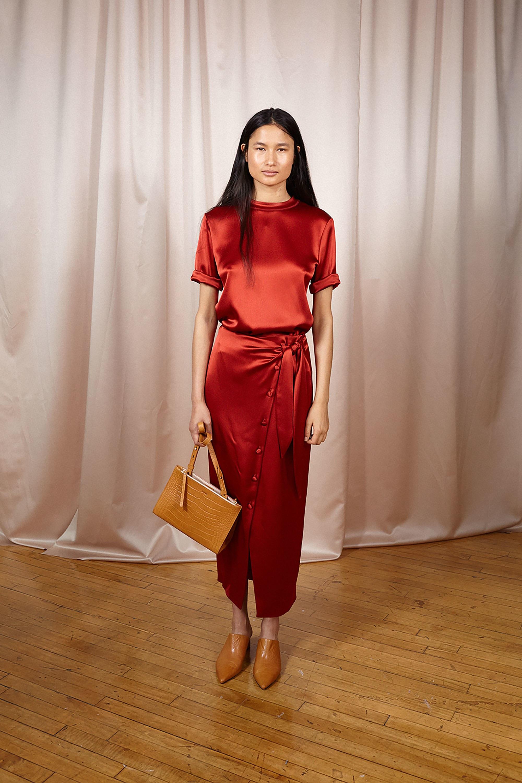 Nanushka красного цвета шелковое платье 2018-2019