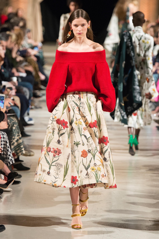 Oscar de la Renta модная расклешенная юбка 2019 цветочным принтом