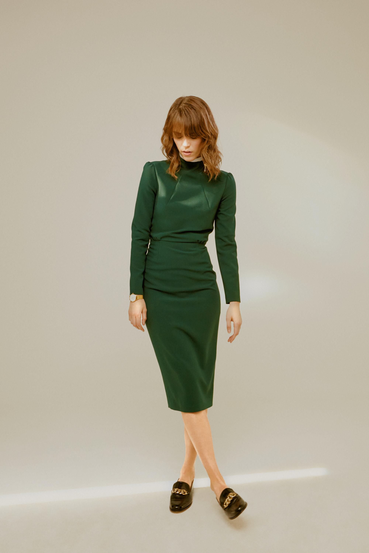 Roseville ярко-зеленое обтягивающее платье с длинными рукавами 2018-2019