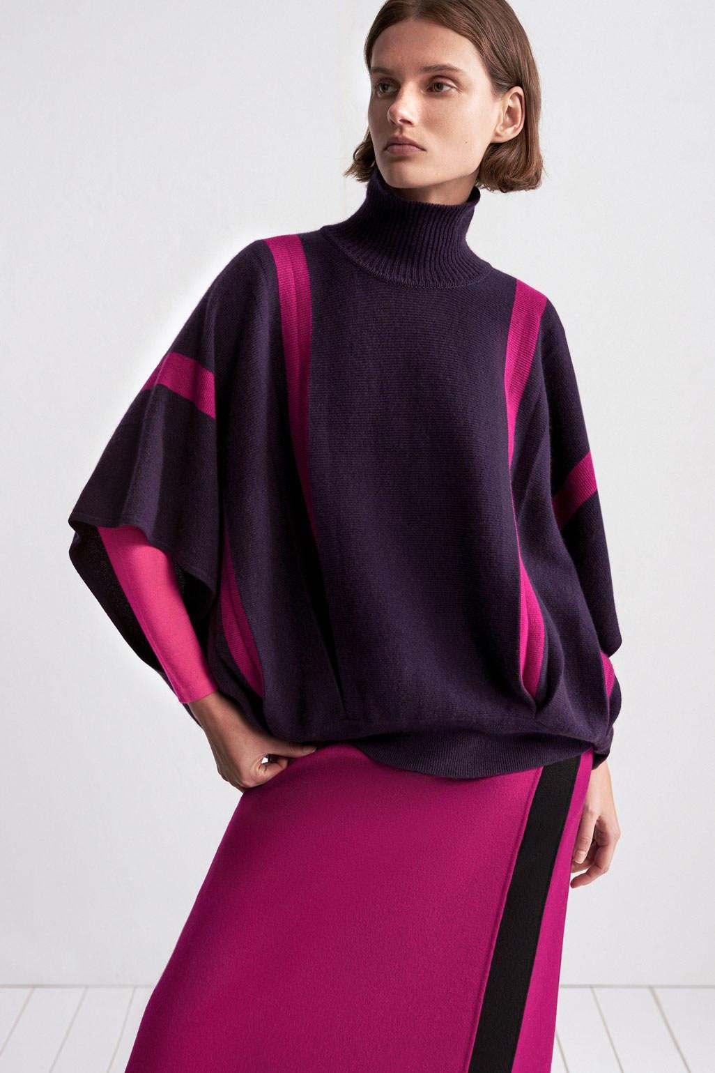 TSE 2 темно-фиолетовая трикотажная кофта с полосами малинового цвета 2019 с юбкой малинового цвета