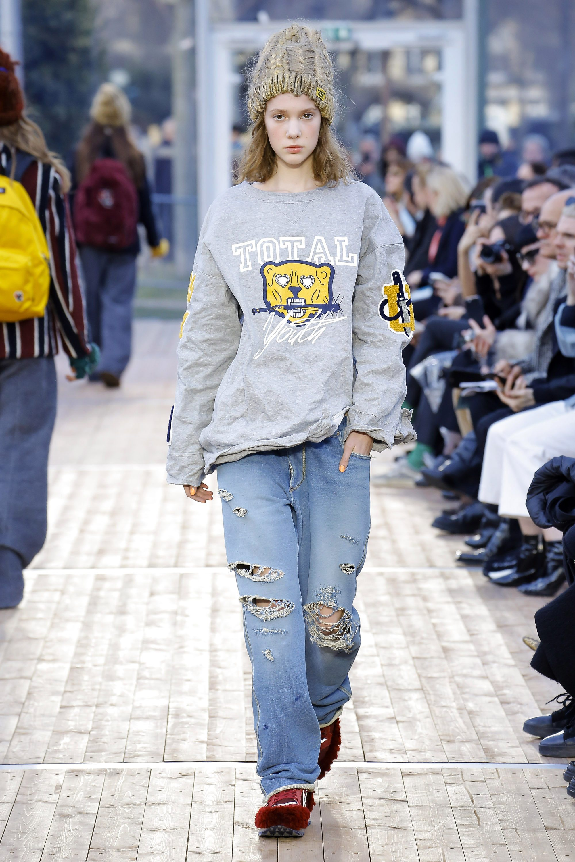 Undercover модная объемная вязаная шапка 2019 с джинсами оверсайз и кофтой