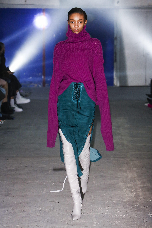 Unravel фиолетовая вязаная кофта с длинными рукавами 2019 с юбкой со шнуровкой