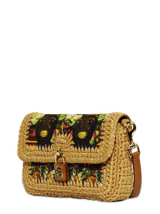 Идея вязаной сумки с обвязанной плотной тканью