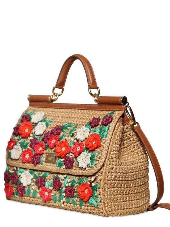 Модная вязаная сумка с цветочным узором