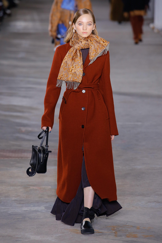3.1 Phillip Lim длинное пальто 2019 коричнего-оранжевого цвета