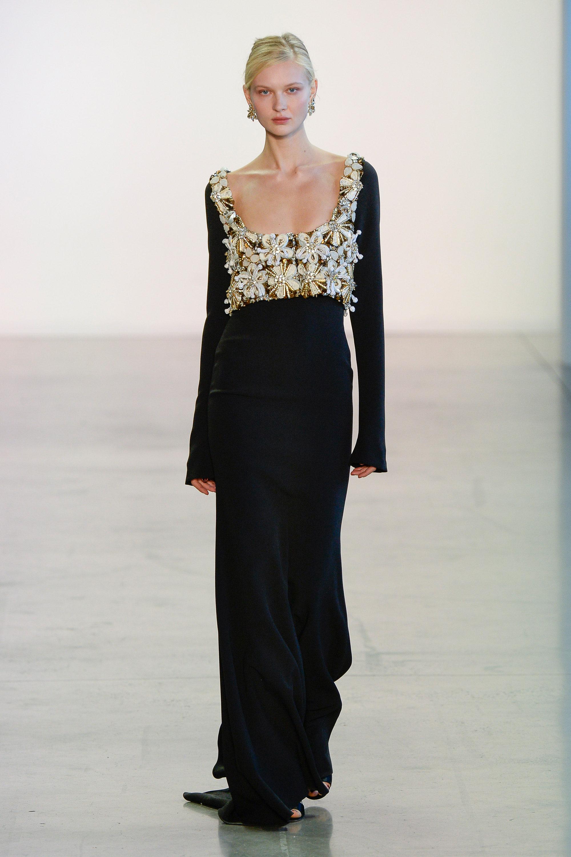Badgley Mischka черное платье в пол 2019 расшитым камнями и стразами лифом