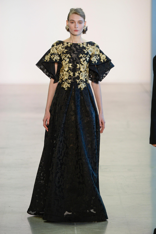 Badgley Mischka черное кружевное платье в пол 2019 расшитым золотой ниткой лифом
