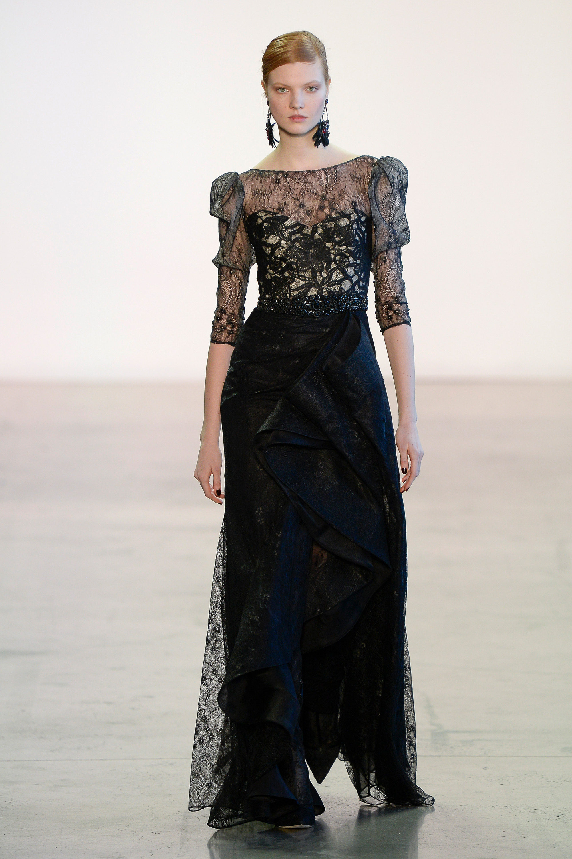 Badgley Mischka черное кружевное платье в пол 2019 с воланами