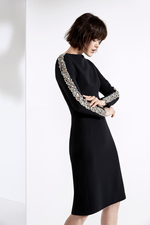 Jenny Packham черное платье 2019 с узорами из страз на длинных рукавах