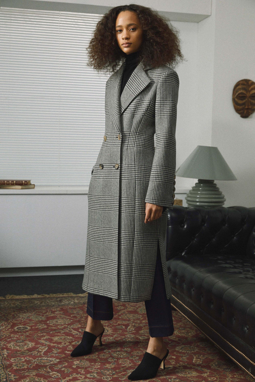 Khaite серых тонов пальто 2019 в клетку с разрезами