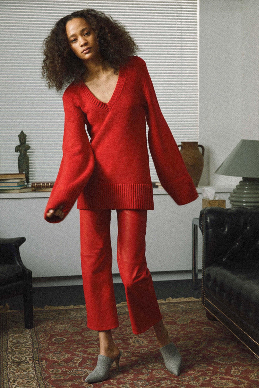Khaite кофта красного цвета 2019 с длинными рукавами