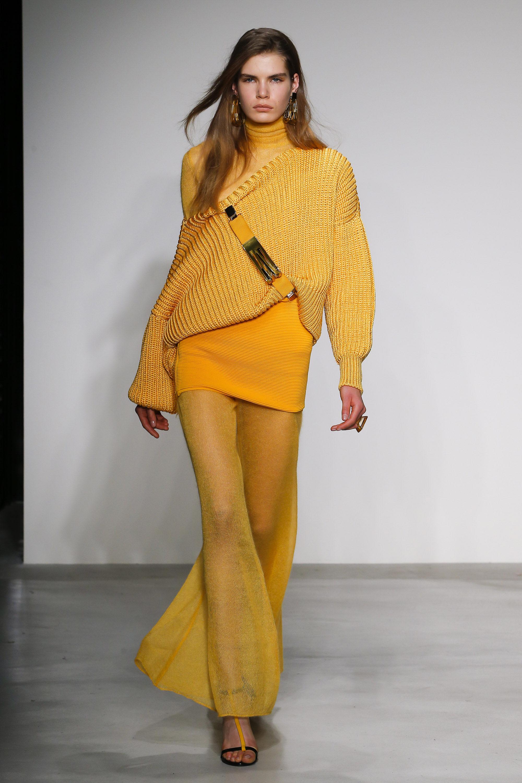 Krizia вязаная модная кофта 2019 с оголенным плечем ярко-желтого цвета