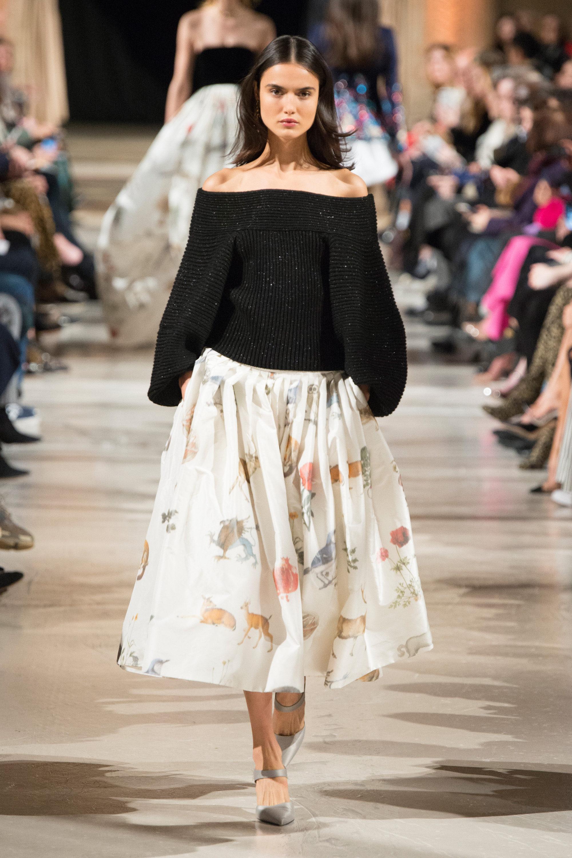 Oscar de la Renta модная кофта с оголенными плечами 2019 черного цвета