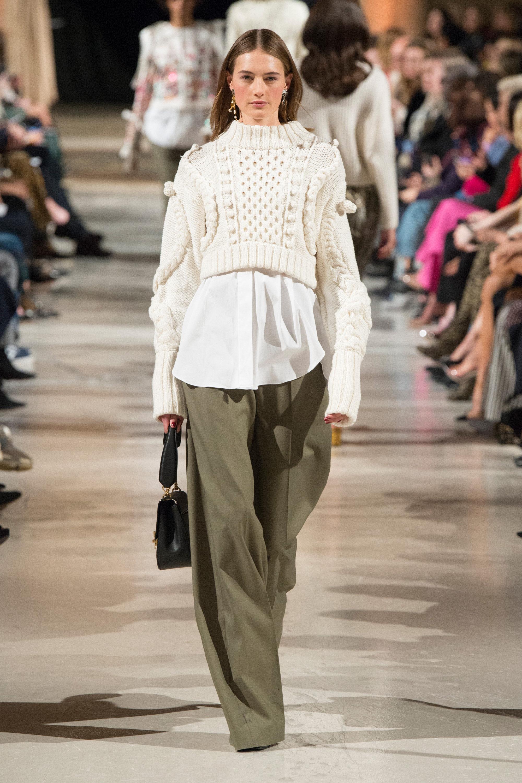 Oscar de la Renta модная кофта 2019 белого цвета с необычной объемной вязкой