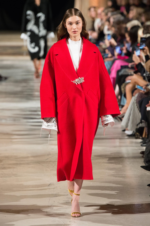 Oscar de la Renta пальто-оверсайз 2019 ярко-красного цвета