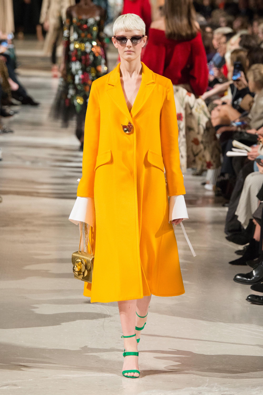 Oscar de la Renta пальто 2019 ярко-желтого цвета