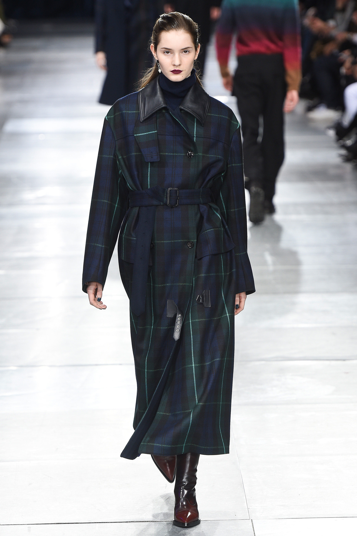 Paul Smith длинное пальто в крупную клетку 2019 с кожаным воротником