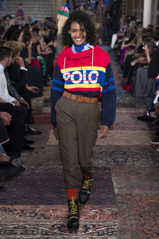 Ralph-Lauren кофта 2019 с крупной надписью и цветными полосами