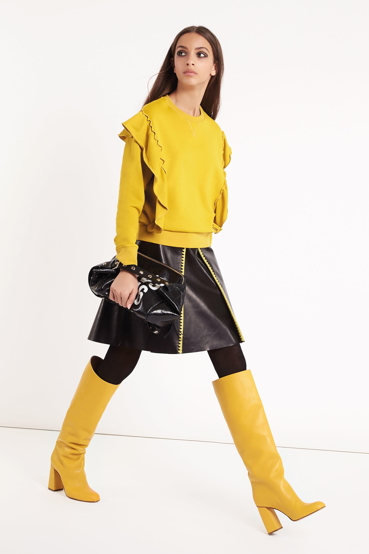 Red Valentino модная кофта ярко-желтого цвета 2019 с рюшами