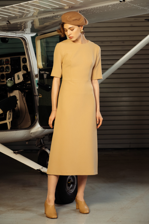 12Storeez платье с короткими рукавми 2019 светло-коричневого оттенка