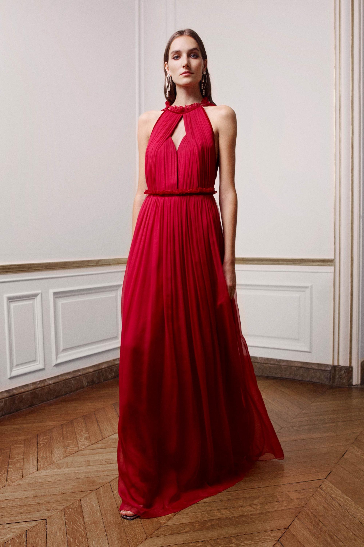 Alberta Ferretti платье в пол 2019 красного цвета