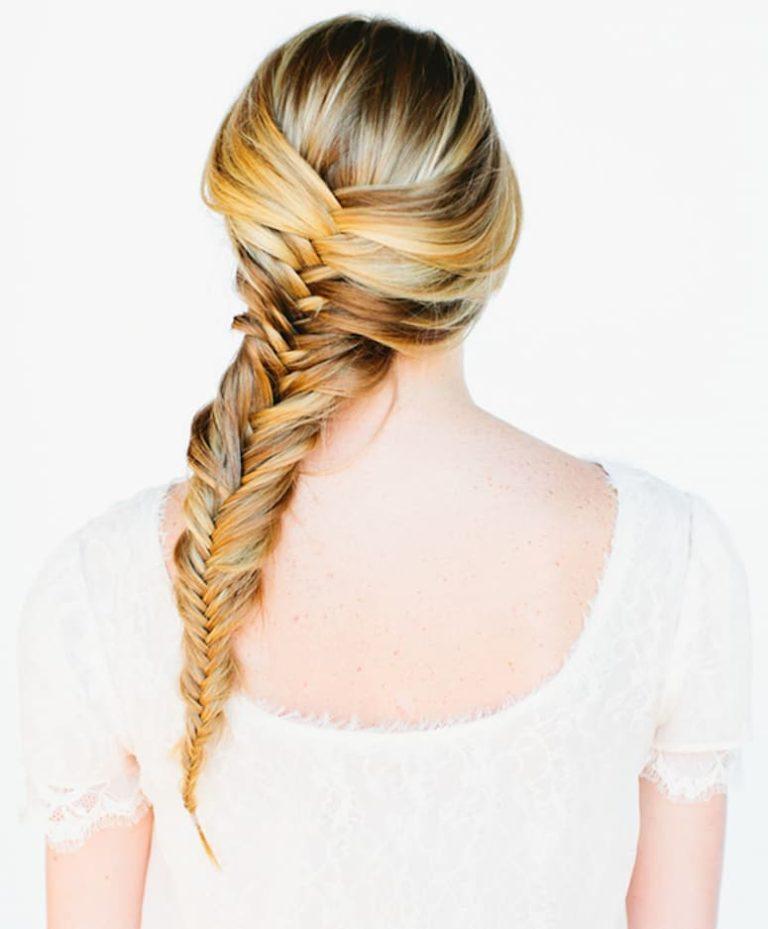 на фото плетение косы рыбий хвост