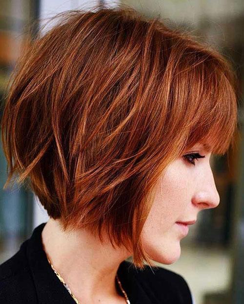 Красивая короткая стрижка на рыжие волосы - Модное каре 2020 с челкой - фото тенденции