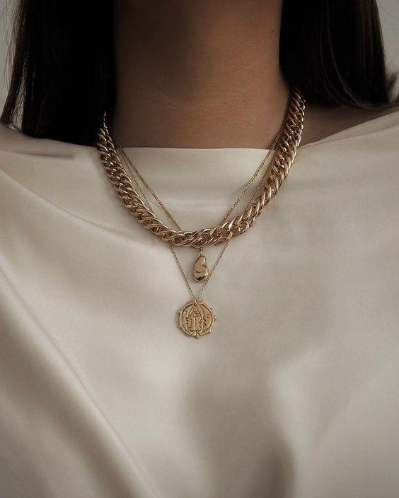 модные украшения цепочки, колье на шею 2020
